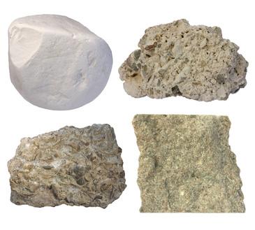 verschiedene Kalksteine